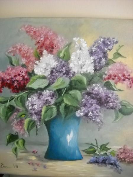 Picturi cu flori Liliac in trei culori
