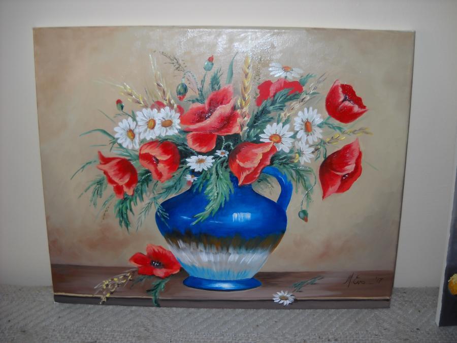 Picturi cu flori Maci si margarete 50