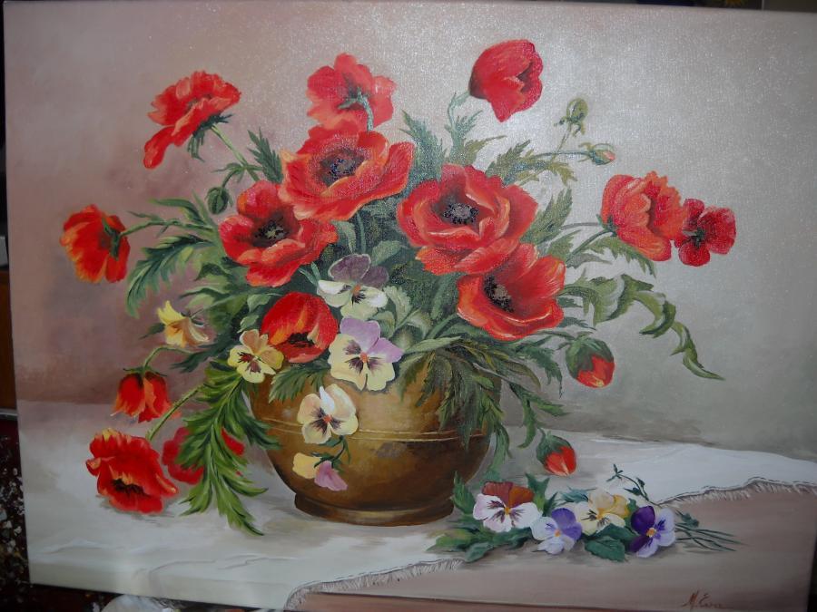 Picturi cu flori Maci si panselute