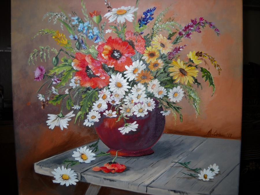 Picturi cu flori Margarete cu flori de camp