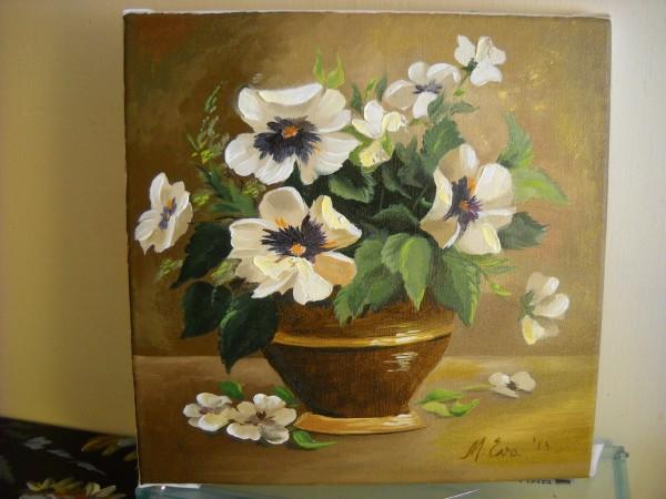 Picturi cu flori Panselute albe