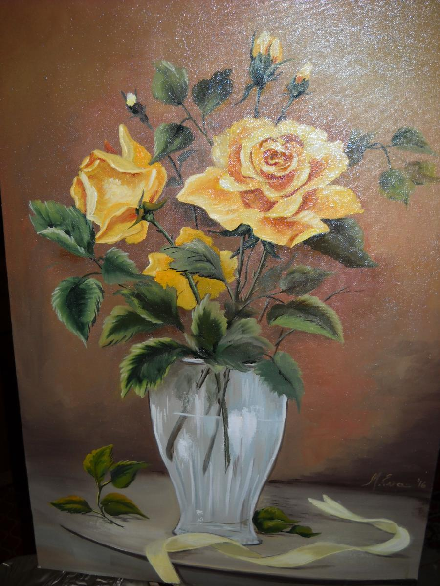 Picturi cu flori Sarga rozsa