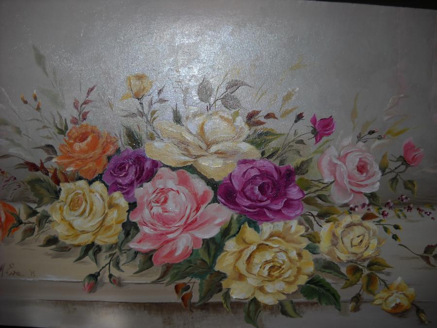Picturi cu flori un buchet multicolor