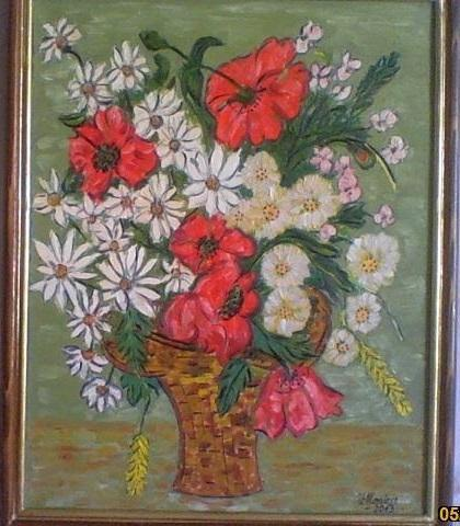 Picturi cu flori cos cu maci si margarete