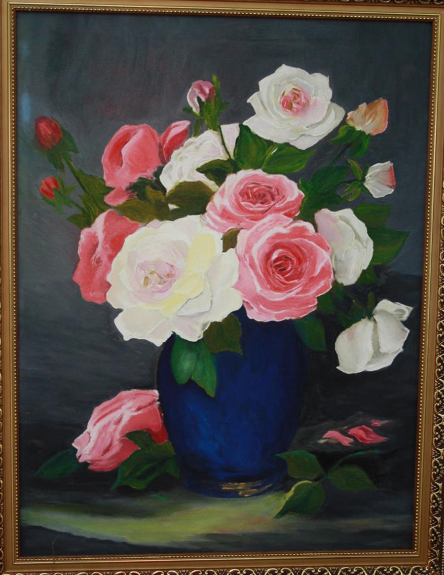 Picturi cu flori Trandafiri albi si roz in vaza albastra