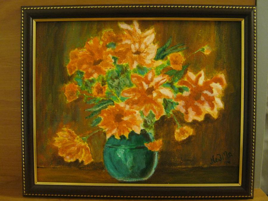 Picturi cu flori Crizanteme in ulcica verde