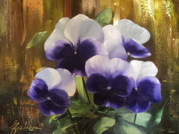 Picturi cu flori Buchet de panselute