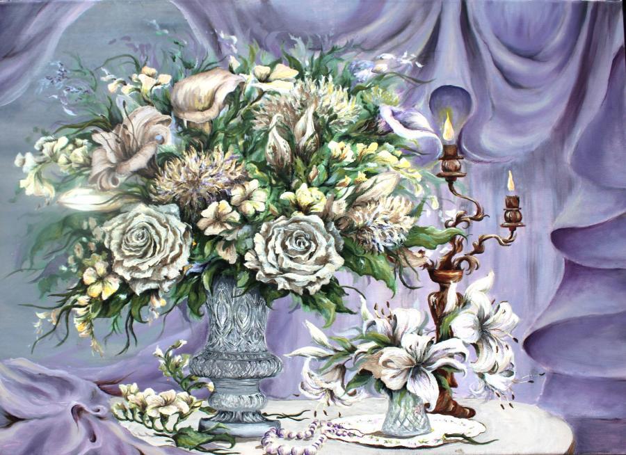 Picturi cu flori Eleganta bej