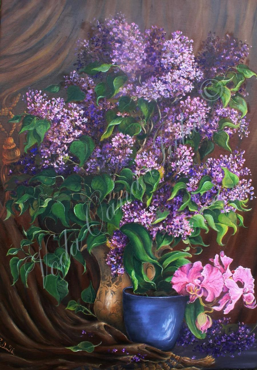 Picturi cu flori Liliac cu orhidee