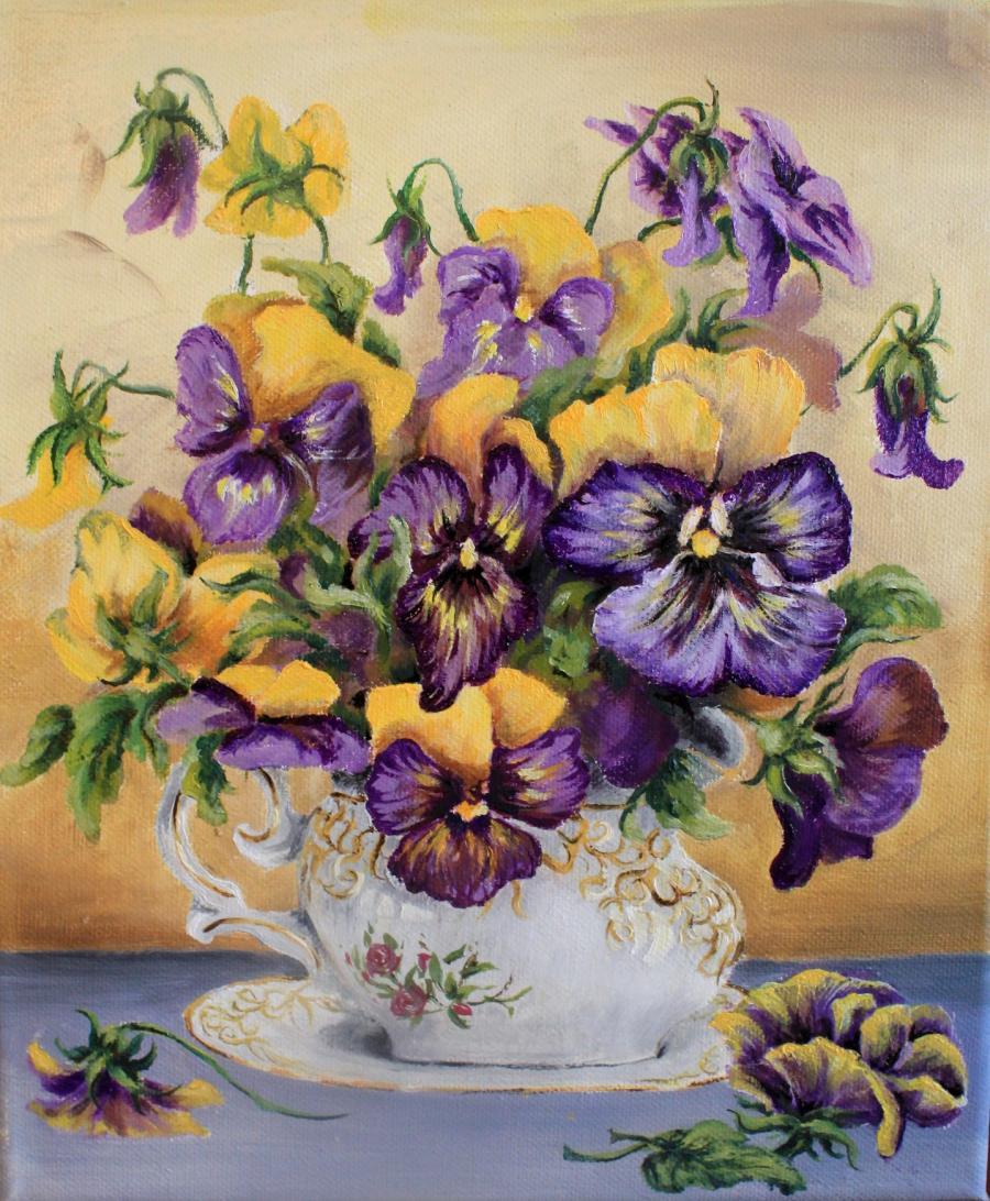 Picturi cu flori Pansele delicate