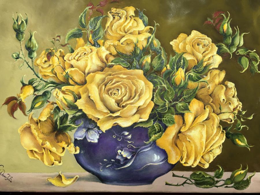 Picturi cu flori Trandafiri galbeni in vaza