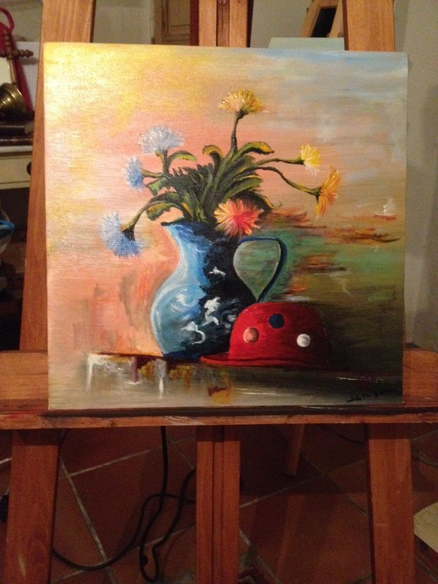Picturi cu flori Palarie si flori