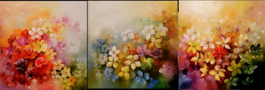 Picturi cu flori florala -triptic