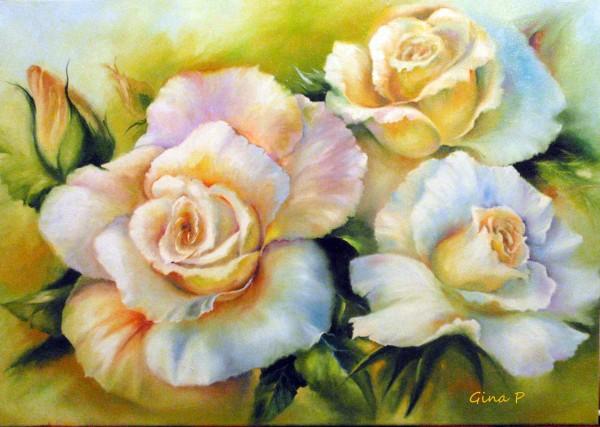 Picturi cu flori Trandafiri albi 2