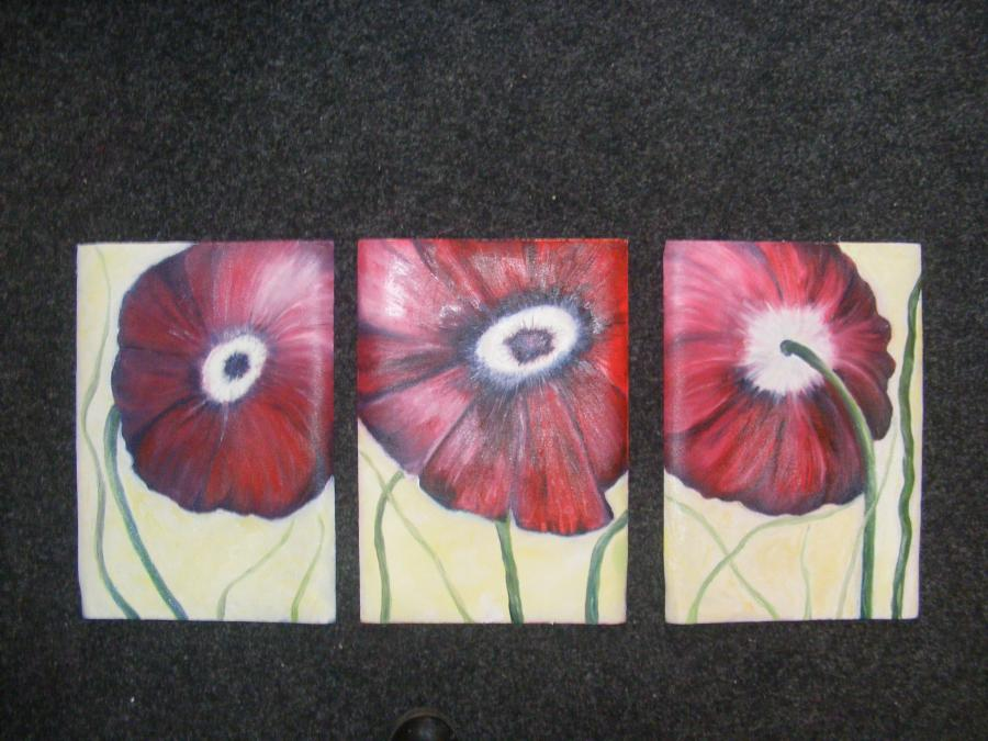 Picturi cu flori Trei Flori rosii