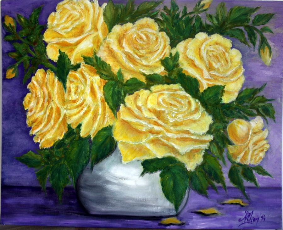 Picturi cu flori Galben auriu