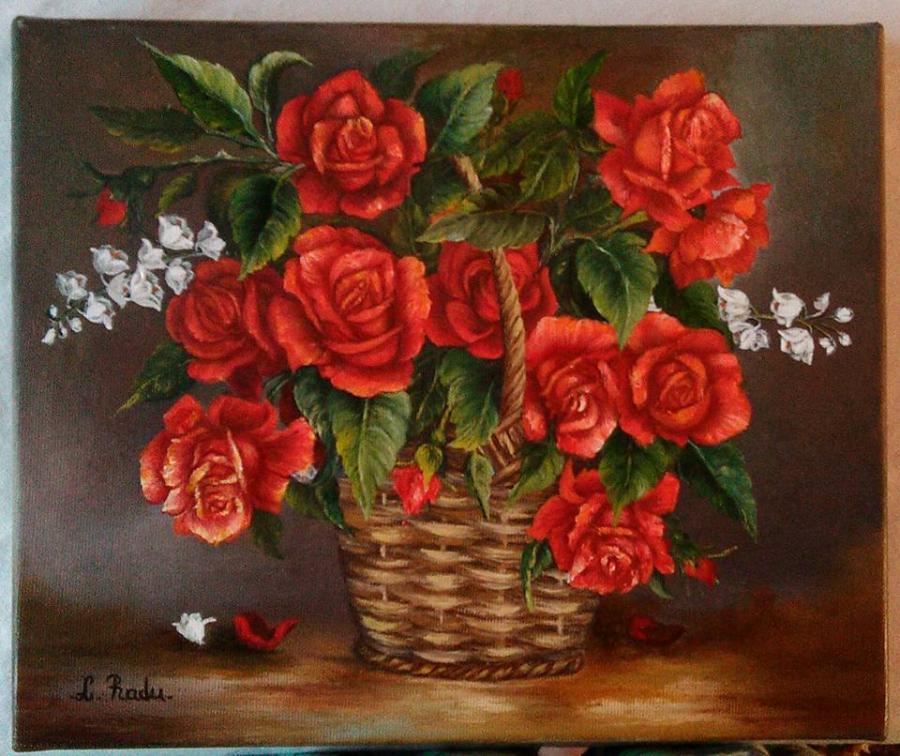 Picturi cu flori Cos cu trandafiri rosii