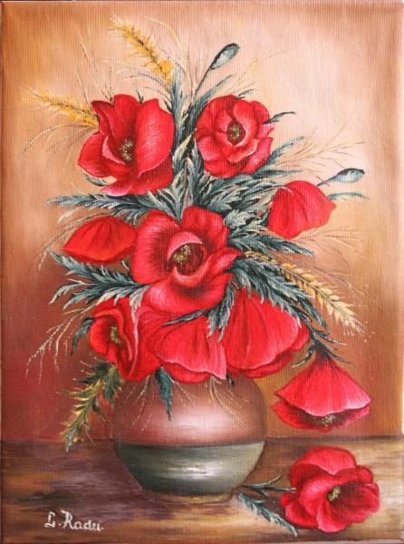 Picturi cu flori Maci in vas