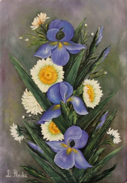Picturi cu flori Margarete si irisi