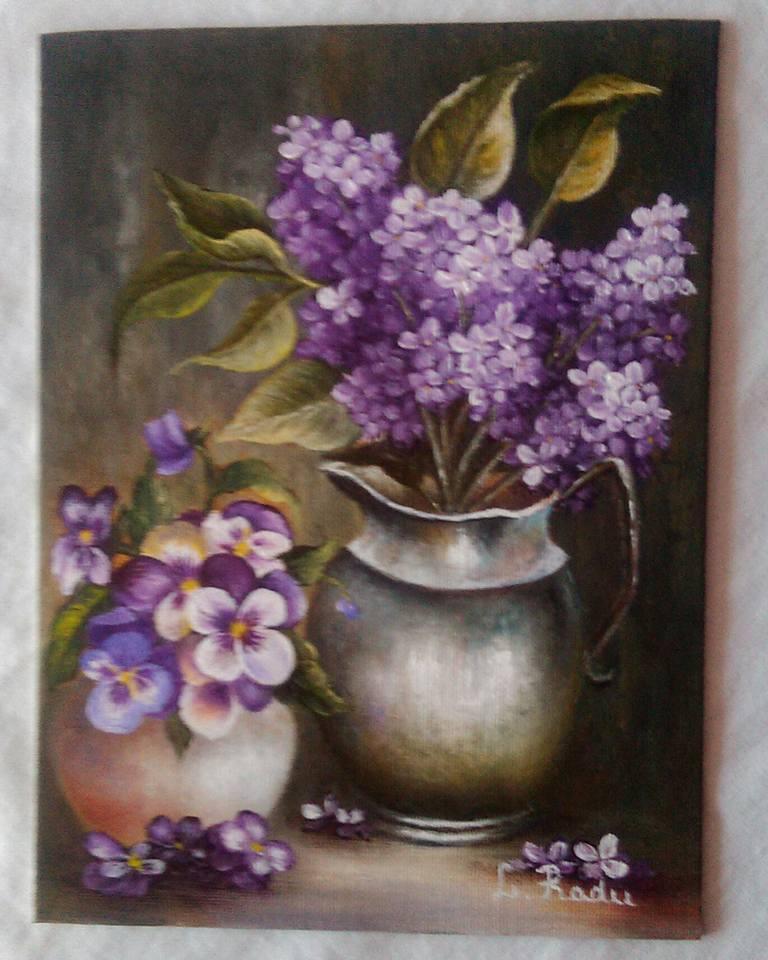 Picturi cu flori Panselute si liliac