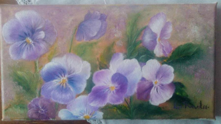 Picturi cu flori simple panselute