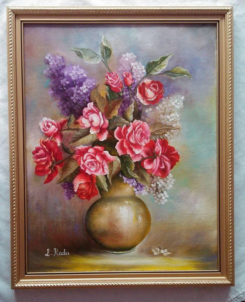 Picturi cu flori Trandafiri rosii si liliac 1-cu rama