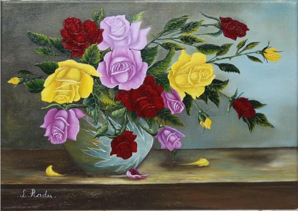 Picturi cu flori Trandafiri roz