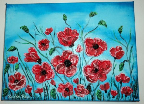 Picturi cu flori Maci pe cerul albastru