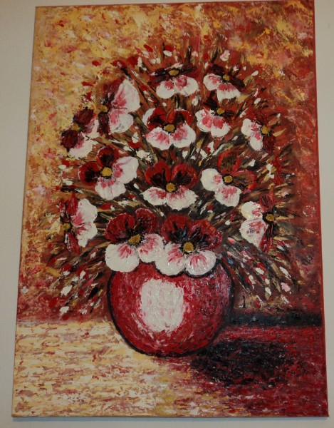 Picturi cu flori Vaza cu panselute