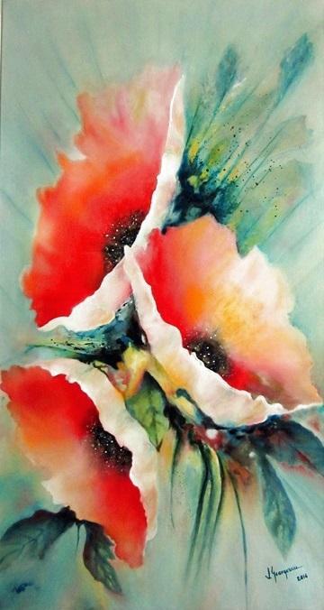 Picturi cu flori Maci 35 cm x 65cm