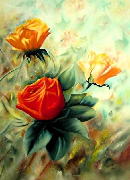 Picturi cu flori Mesajul trandafirilor