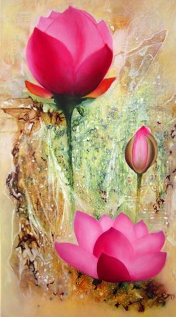 Picturi cu flori Nuferi roz