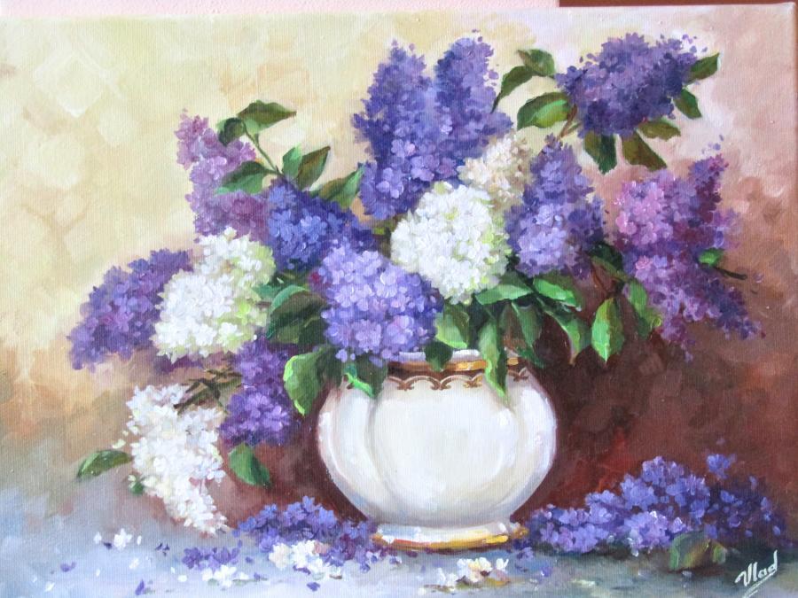 Picturi cu flori LILIAC IN VAS ALB