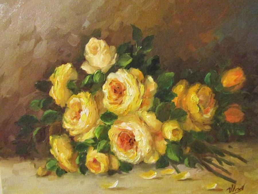 Picturi cu flori TRANDAFIRI GALBENI...
