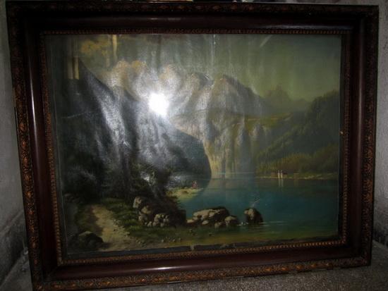 Picturi cu peisaje lac de munte toamna