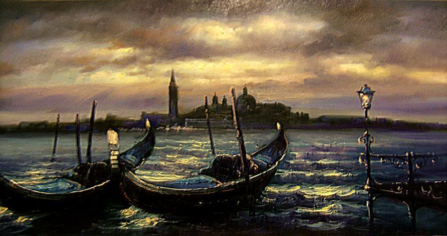 Picturi cu peisaje amurg venetian