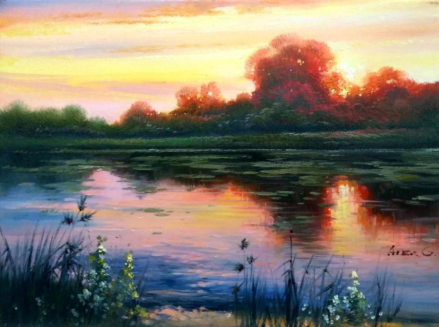Picturi cu peisaje apus in delta 1