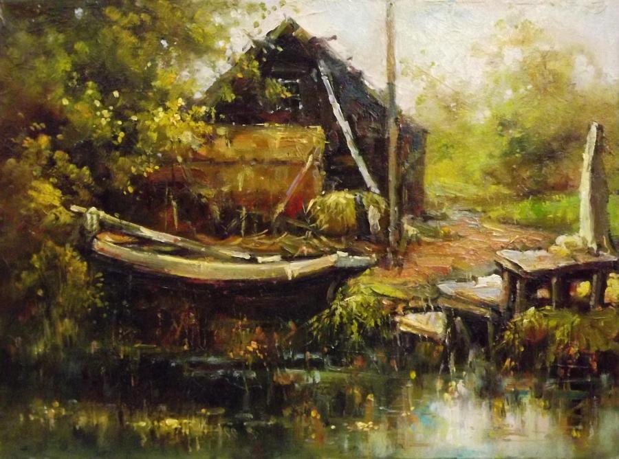 Picturi cu peisaje refugiu pescaresc.