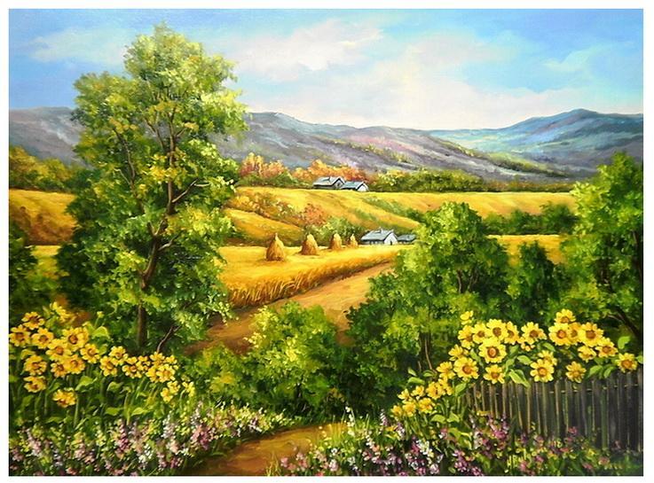 Picturi cu peisaje VARA TIRZIE IN BUCOVINA