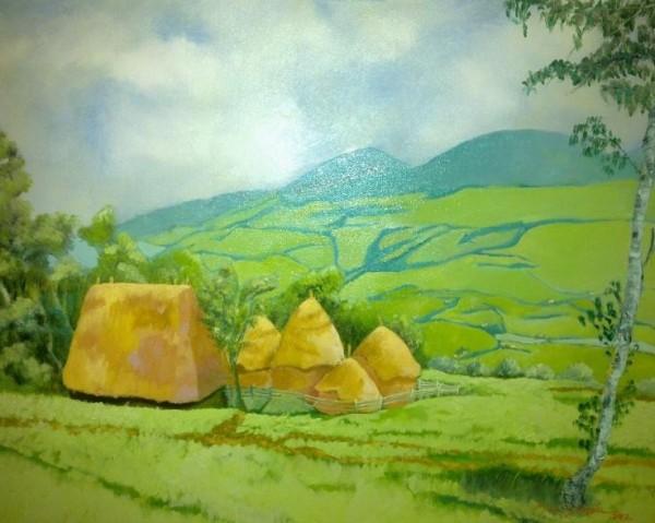 Picturi cu peisaje Romania rustica