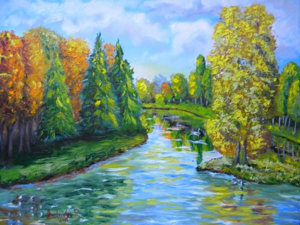 Picturi cu peisaje Colt de parc