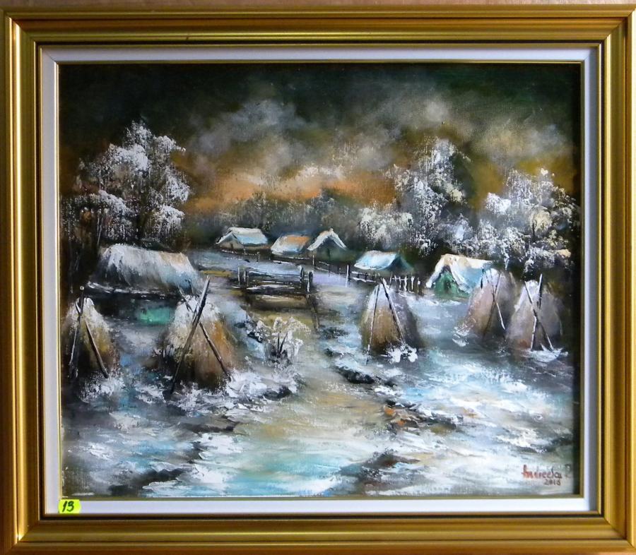 Picturi cu peisaje NOAPTE DE IARNA CU CAPITE