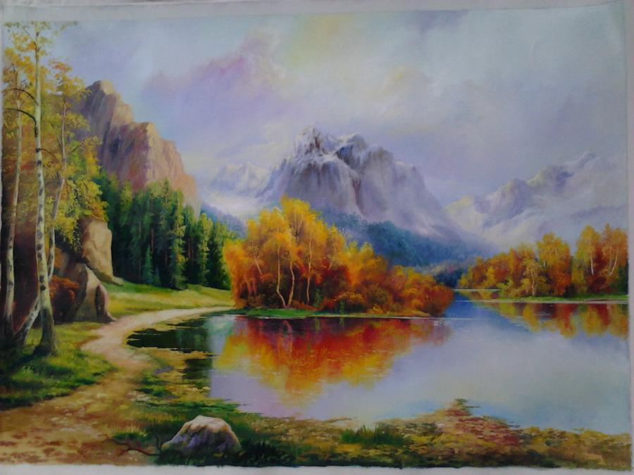 Picturi cu peisaje toamna in munti 2