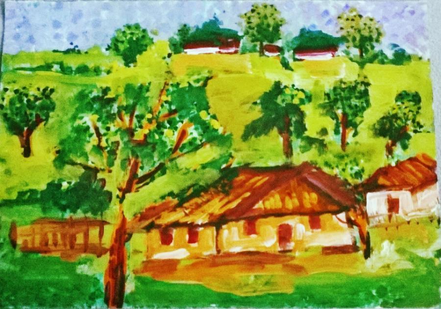 Picturi cu peisaje casute pe dealuri