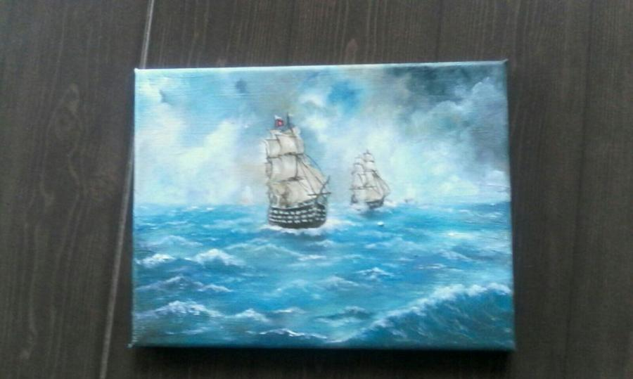 Picturi cu peisaje Furtuna pe mare!