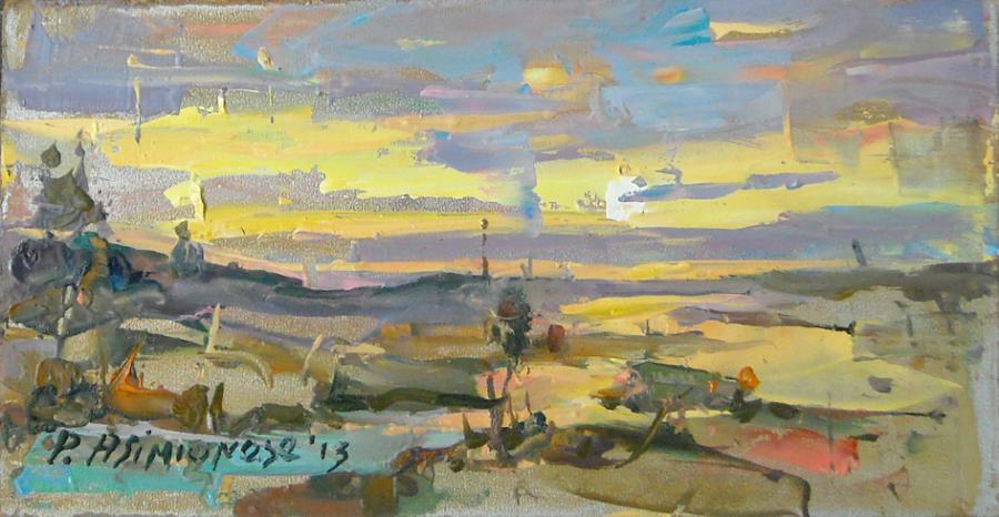 Picturi cu peisaje Apus la campie