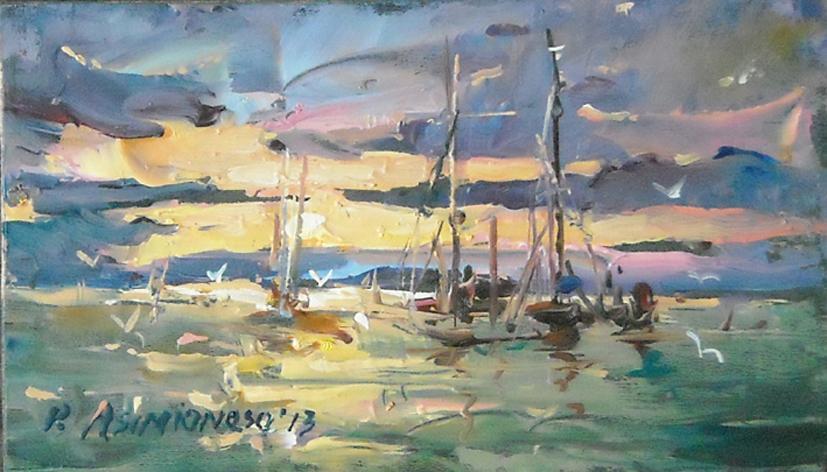 Picturi cu peisaje Apus la mare