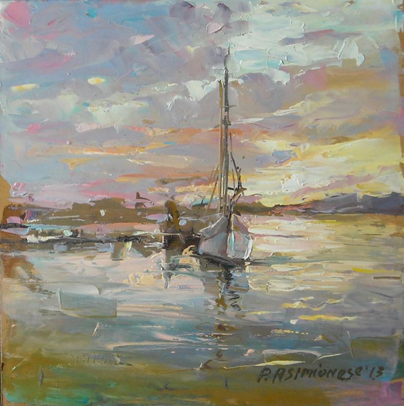 Picturi cu peisaje Asfintit cu barci