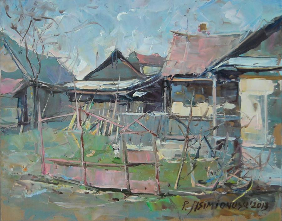 Picturi cu peisaje Gospodarie taraneasca, jud. Cluj-2