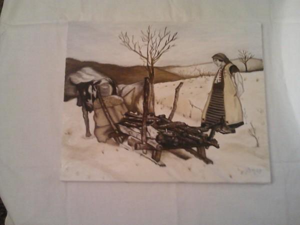 Picturi cu peisaje Iarna la lemne